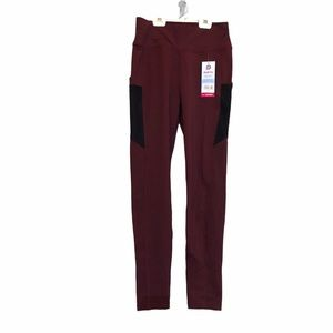 Pop fit burgundy workout leggings with pockets
